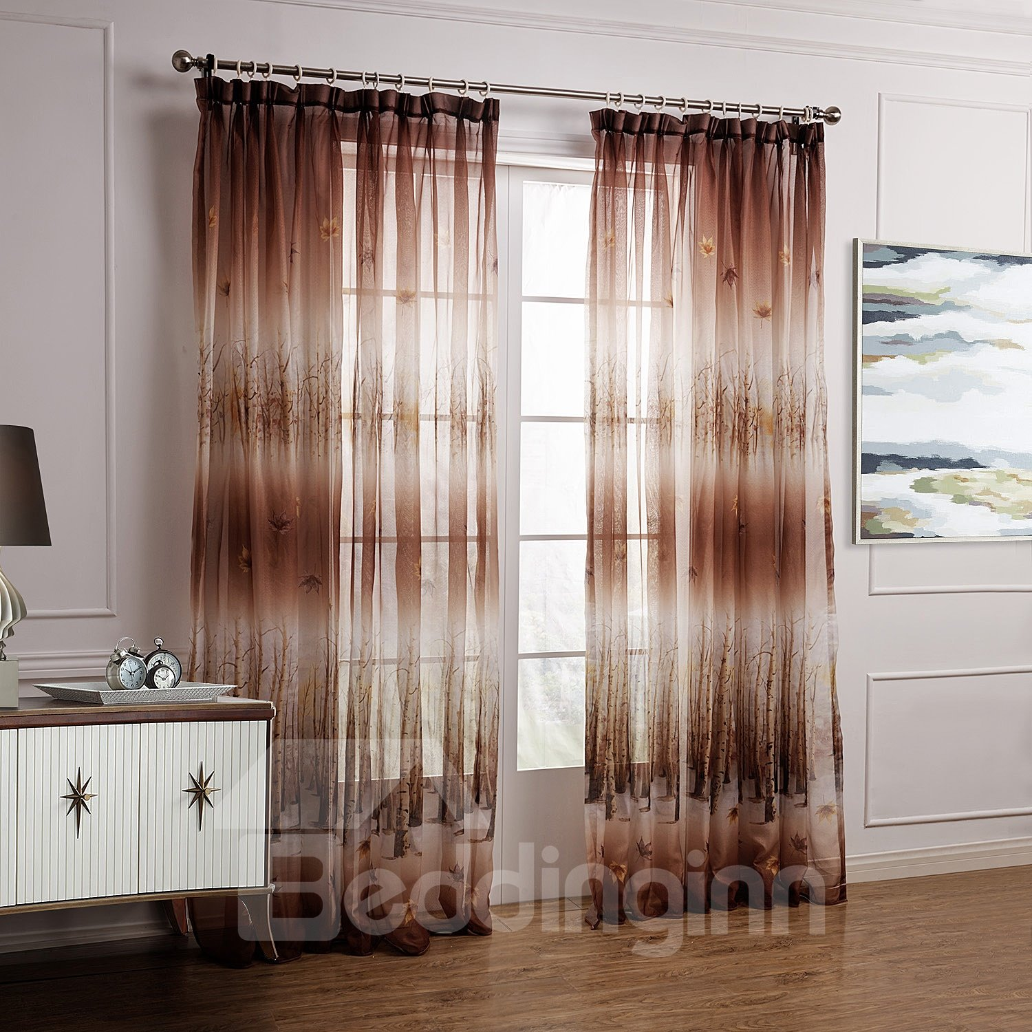 Fantastic Brown Leaves And Forest Printing Custom Sheer