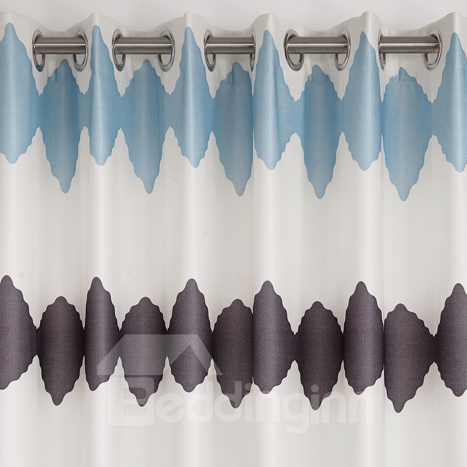 Fantastic Blue Brown Design Grommet Top Custom Curtain