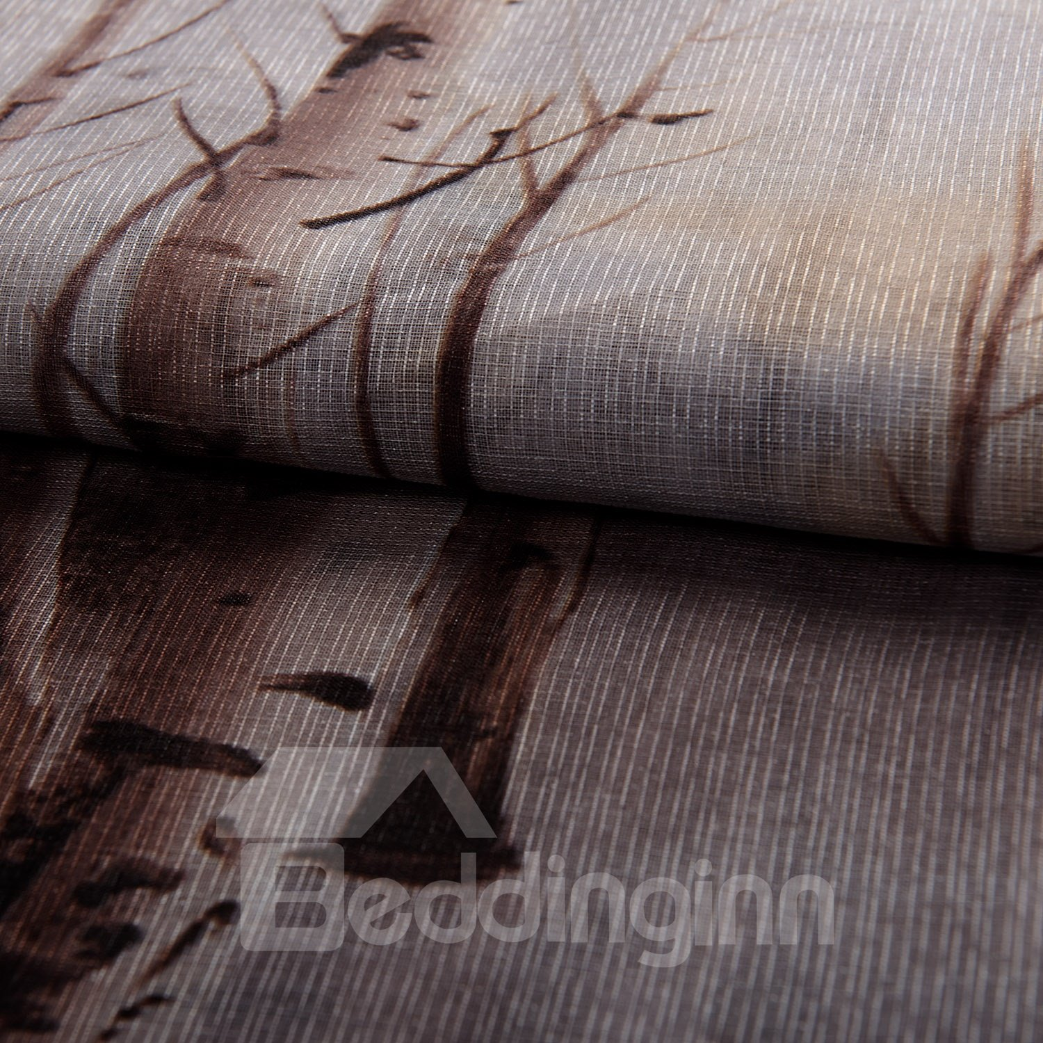 Fantastic Gray Leaves And Forest Printing Custom Sheer Curtain