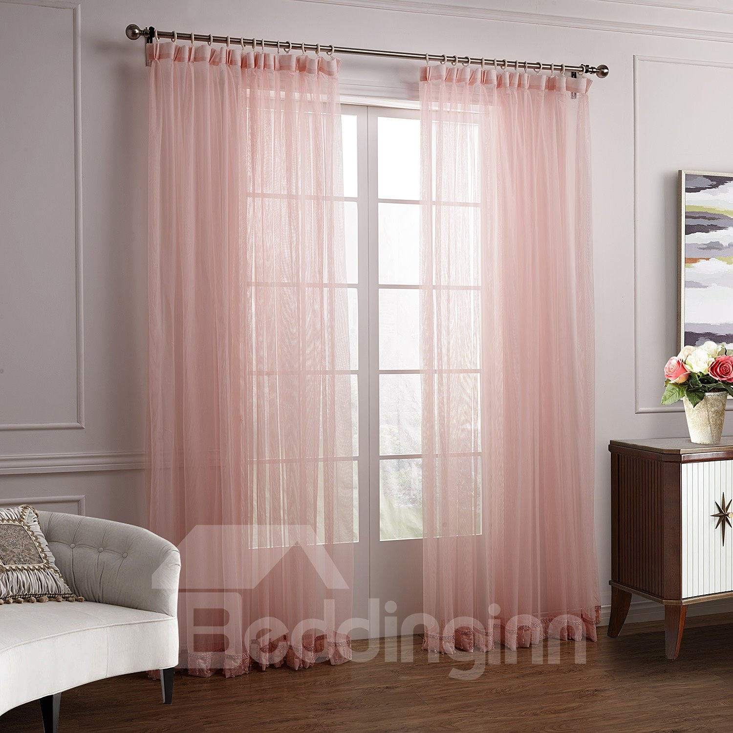 ... Lovely Elegant Pink Cinderella Custom Sheer Curtain - beddinginn.com