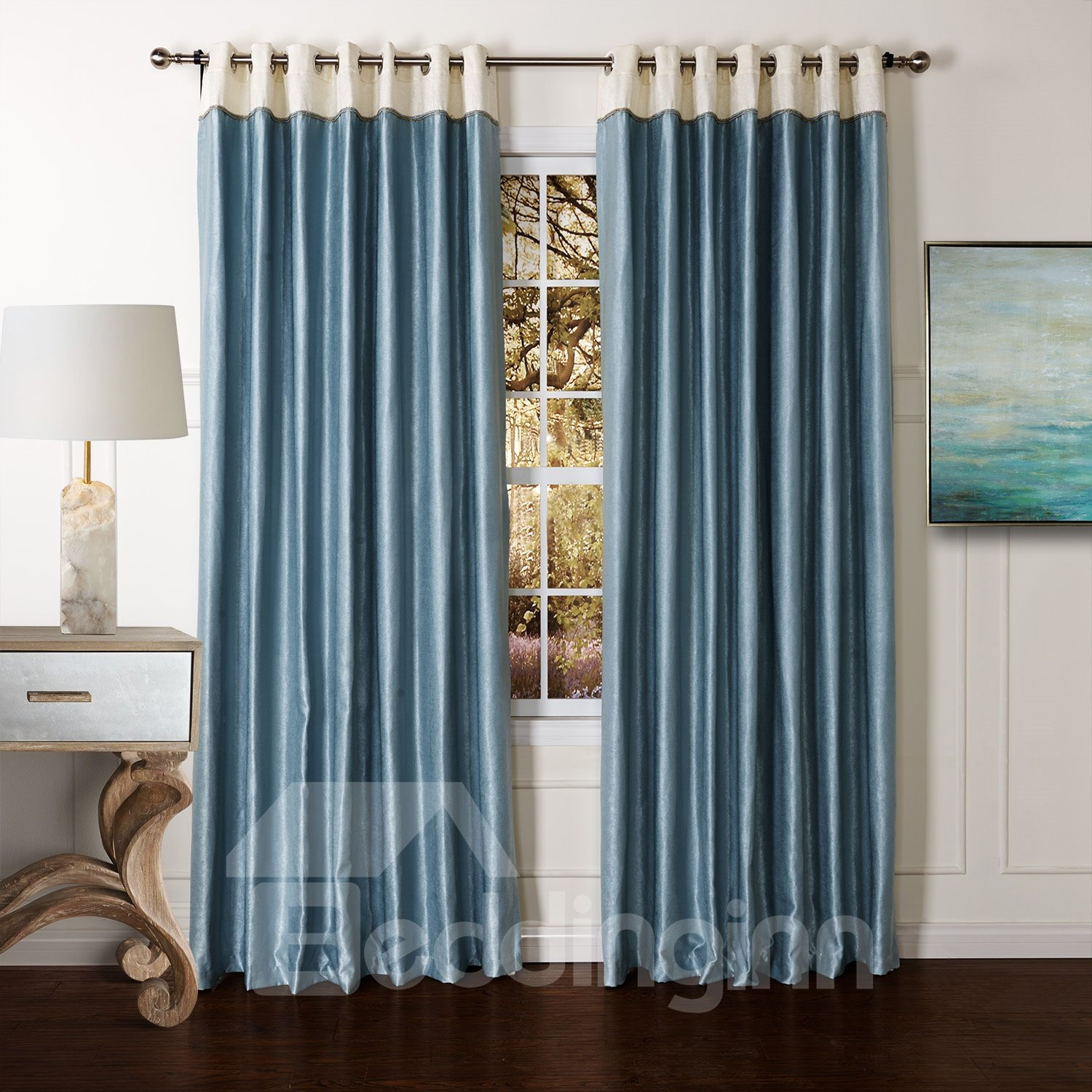 Classic Blue Pretty Granular Villus Custom Curtain