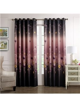Graceful Sparking Deep Purple Dandelion Printing Custom Curtain