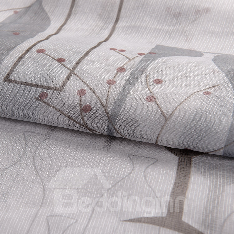 Wonderful Gorgeous Gray Vase Floral Printing Custom Sheer Curtain