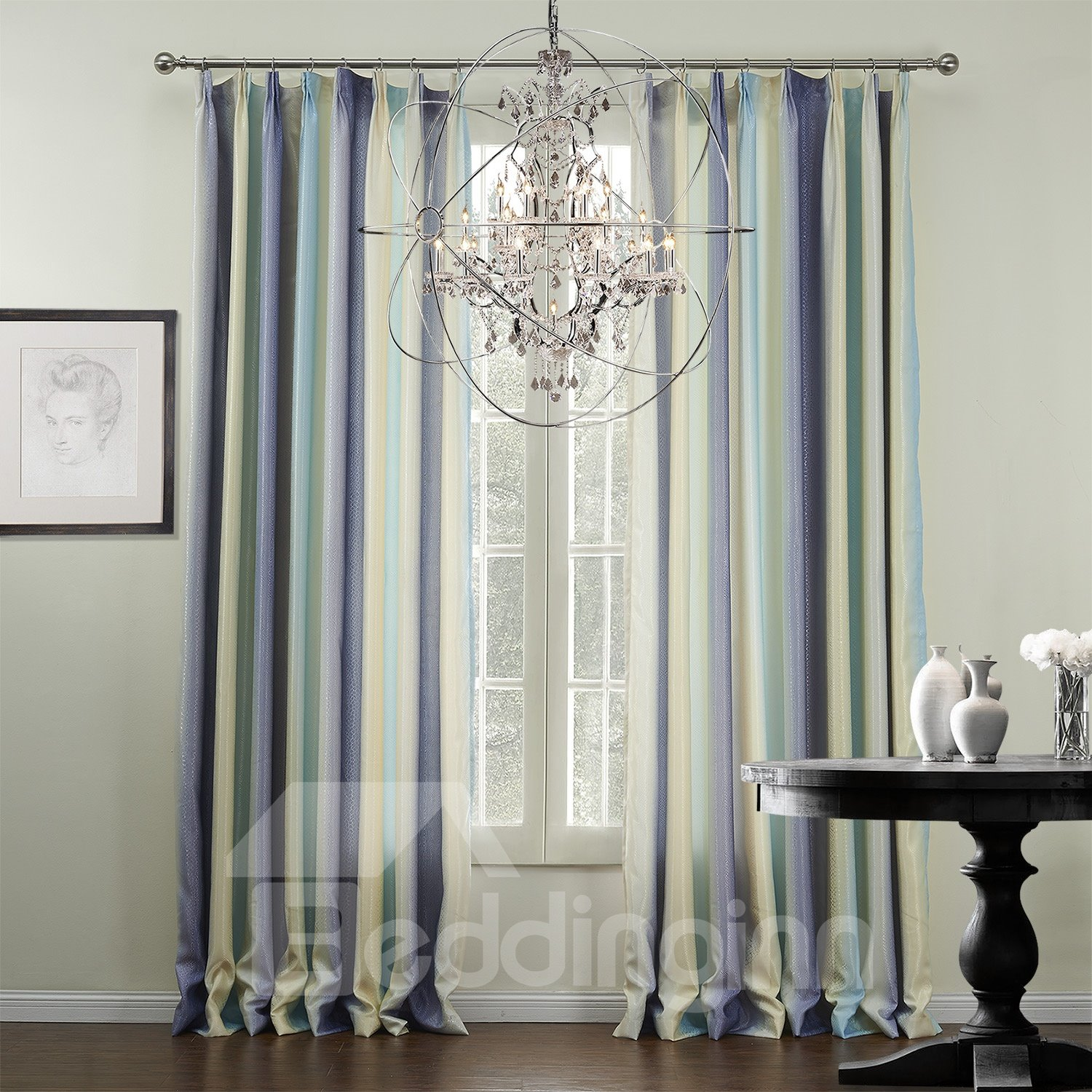 Graceful Pretty Mixed Color Checks Pattern Custom Curtain