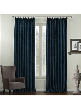 Graceful Elegant Deep Blue Jacquard Pattern Custom Curtain