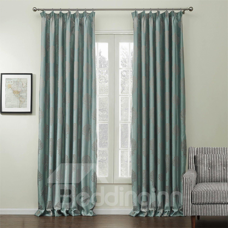 Graceful Elegant Green Jacquard Pattern Custom Curtain