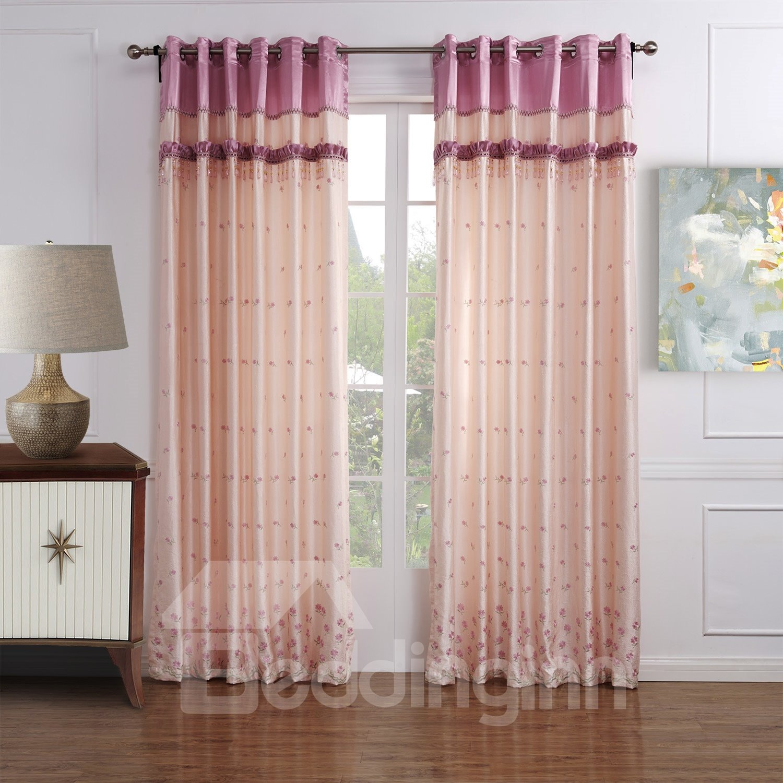 Classic Wonderful Embroidery Pretty Pink Custom Curtain