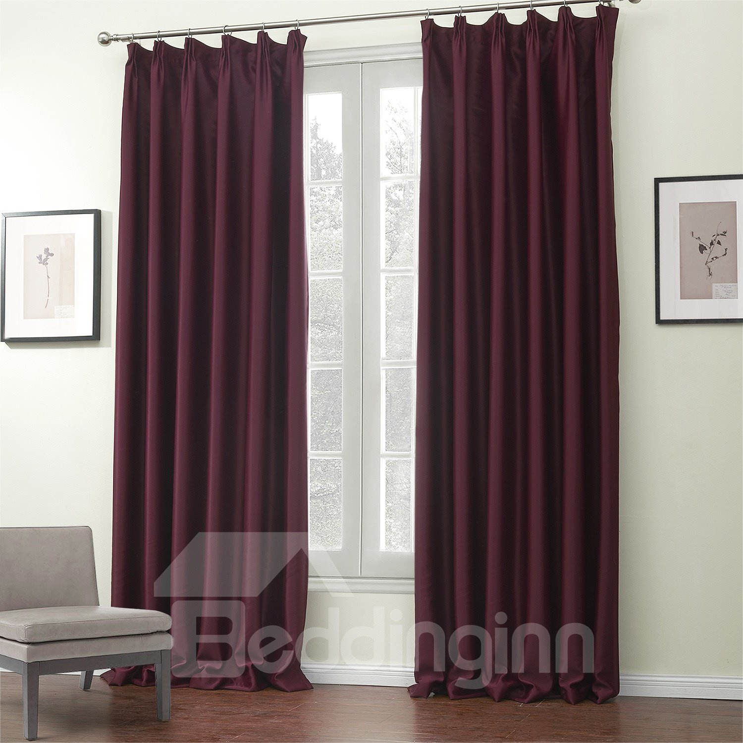Amazing Graceful Pure Red Pattern Custom Curtain