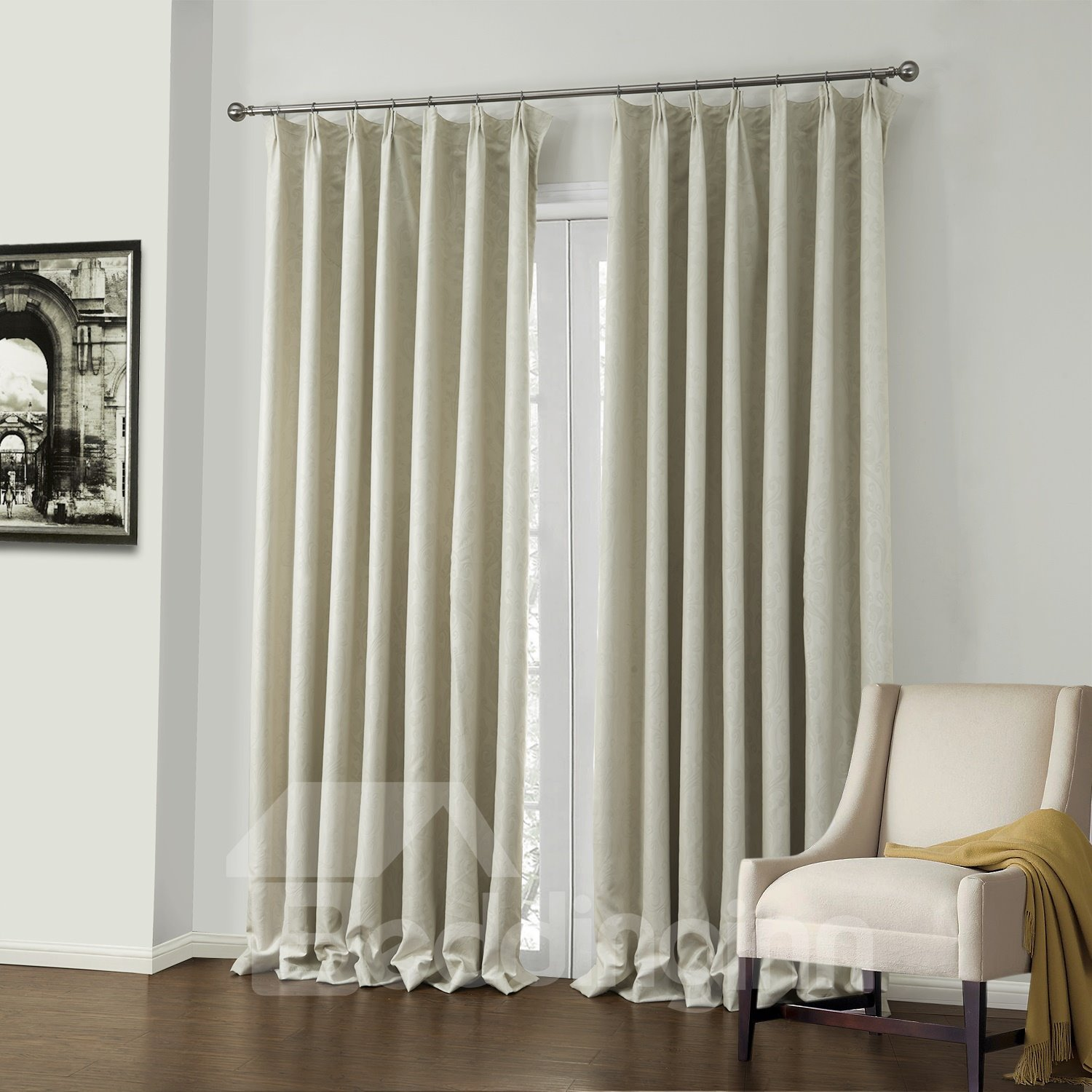 Fantastic Elegant White Jacquard Pattern Custom Curtain