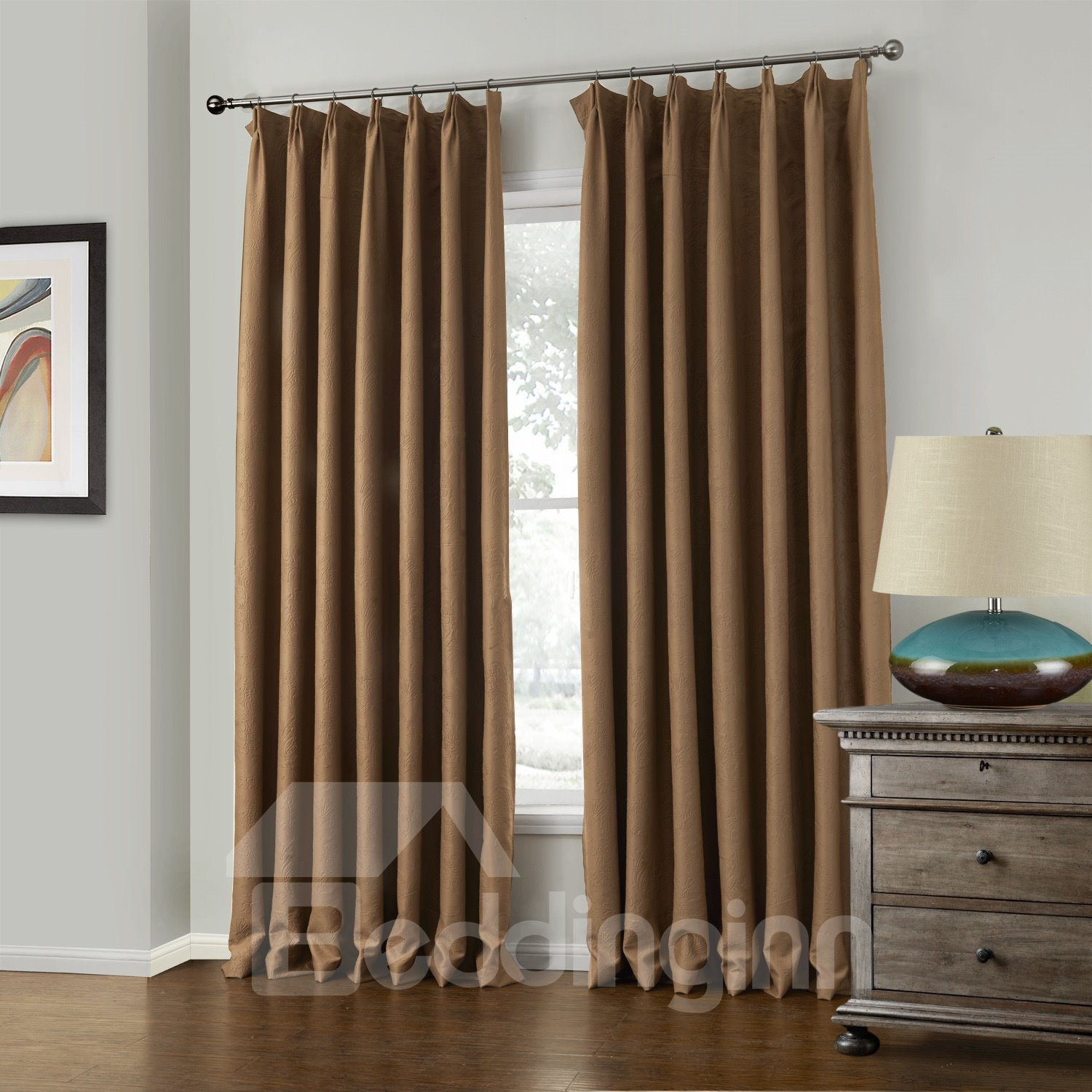 Fantastic Elegant Brown Amboss Pattern Custom Curtain