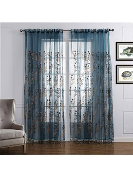 Wonderful Floral Pattern Custom Sheer Curtain
