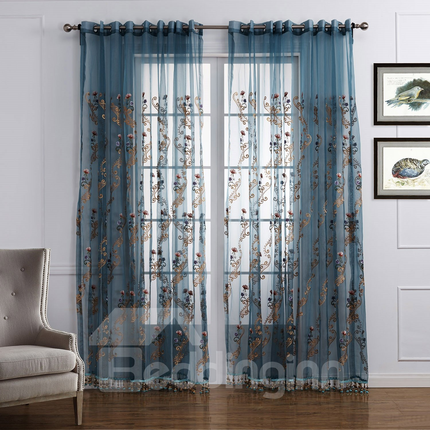 Wonderful Floral Pattern Custom Sheer Curtain Beddinginn Com