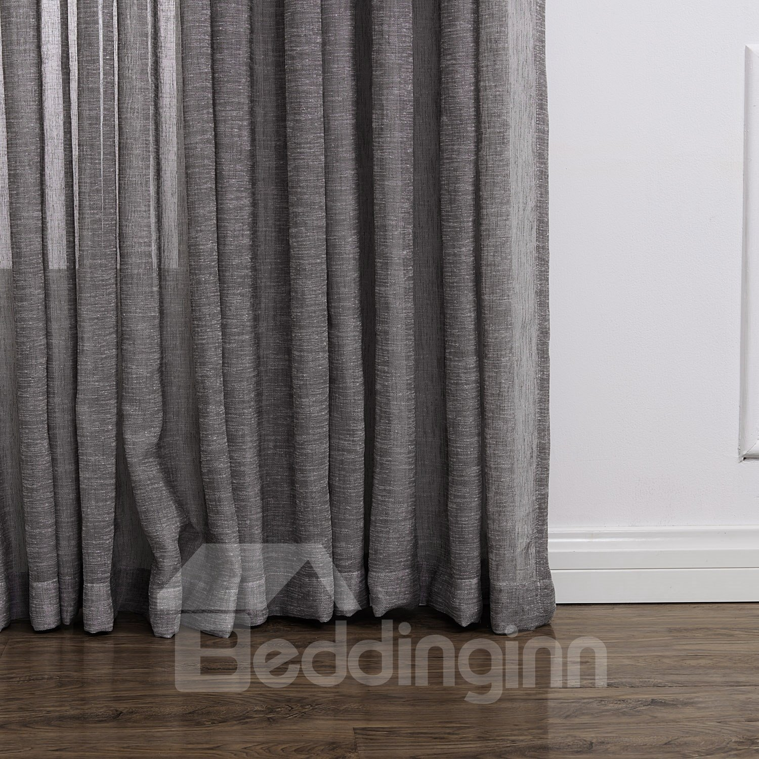 Light Gray Popular Polyester and Linen Custom Sheer Curtain