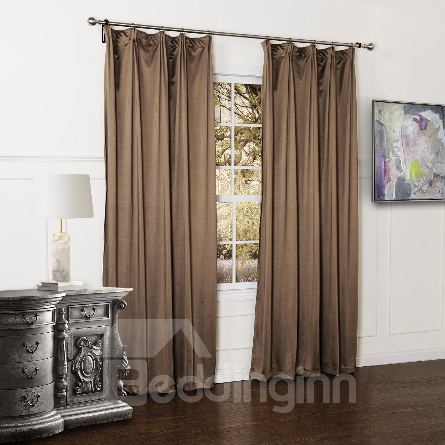 Graceful Solid Double Pinch Pleat Custom Curtain