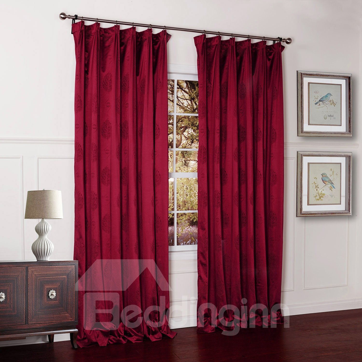 Lovly Red Two Pieces Double Pinch Pleat Custom Curtain