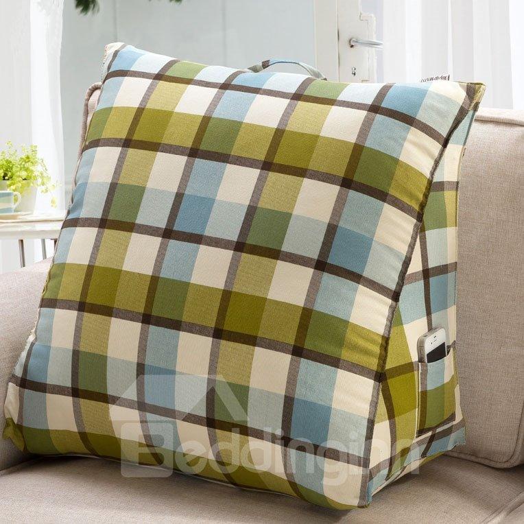 Comfortable Light Color Checks Pattern Throw Pillow
