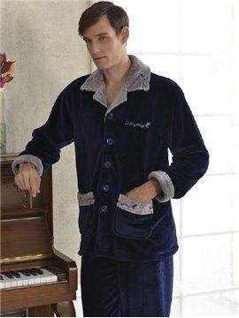 Wonderful Elegant Deep Blue Concise Design Male Loungewear