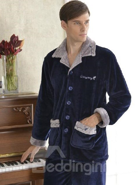 Wonderful Elegant Deep Blue Concise Design Male Loungewear