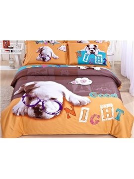 Good Night Doctor Dog Print 4-Piece Cotton Duvet Cover Sets