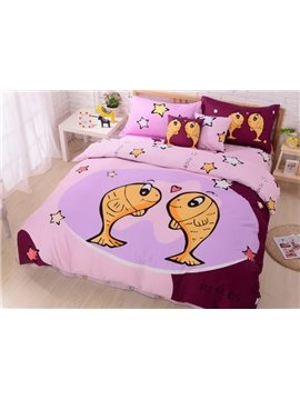 Cartoon Pisces and Star Print 4-Piece Cotton Duvet Cover Sets