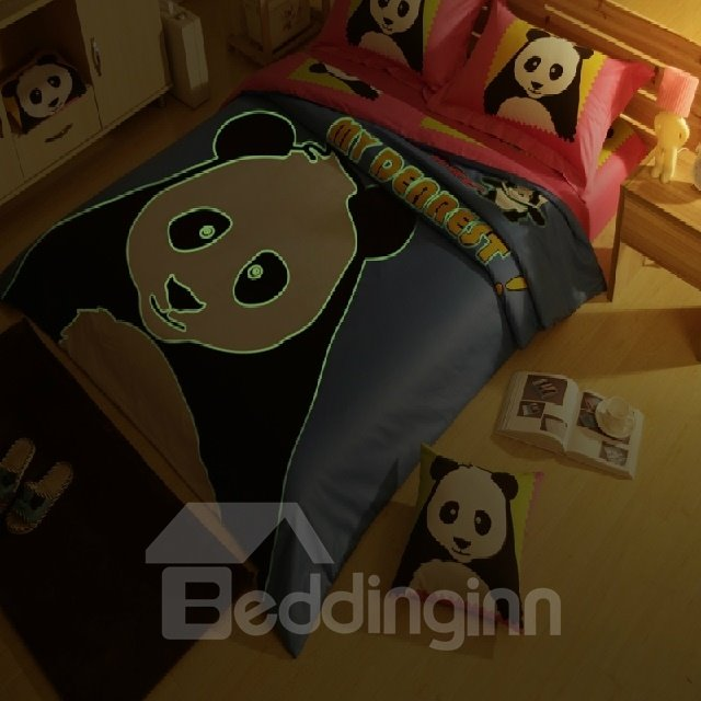 Novel Luminous Baby Panda Print 4 Piece Cotton Duvet Cover