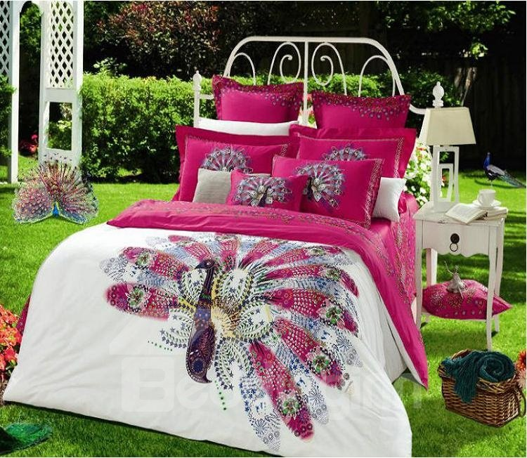 Cozy Fabulous Phoenix Print 4-Piece Cotton Duvet Cover Sets