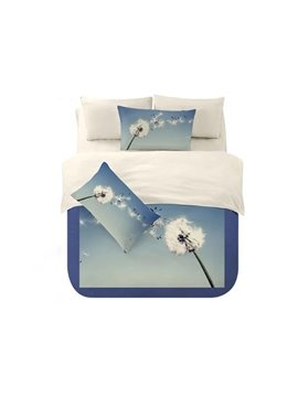 Romantic Dreamlike Blue Dandelion Printing 4-Piece Polyester Duvet Cover Sets
