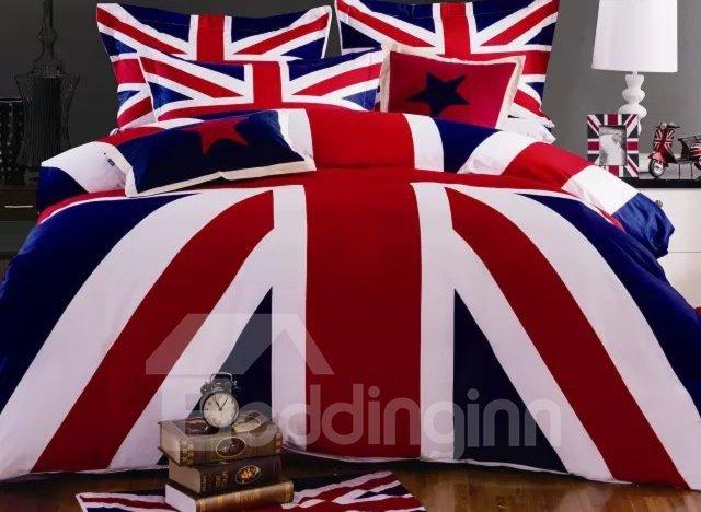 Cozy Fashion Flag Pattern 4-Piece Cotton Duvet Cover Sets
