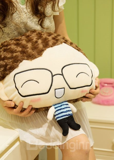Super Lovely Plush Girl and Boy Toy a Pair Throw Pillow
