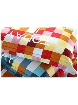 Gorgeous Colorful Letter Pattern 4-Piece Cotton Duvet Cover Sets