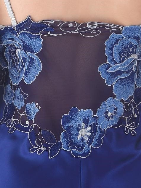 Graceful Silky Deep Blue Jacquard Style Chemise