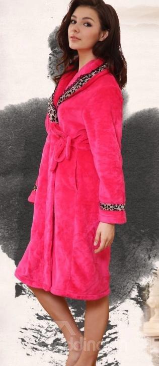 Wonderful Fashion Cozy Leopard Design Rose Bathrobe