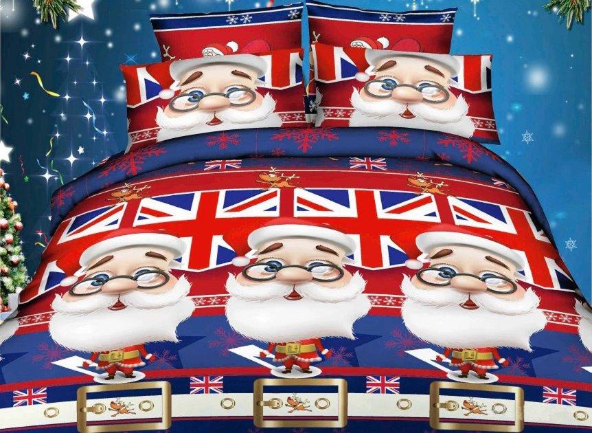 Father Christmas and Union Jack 4-Piece Cotton Duvet Cover Sets