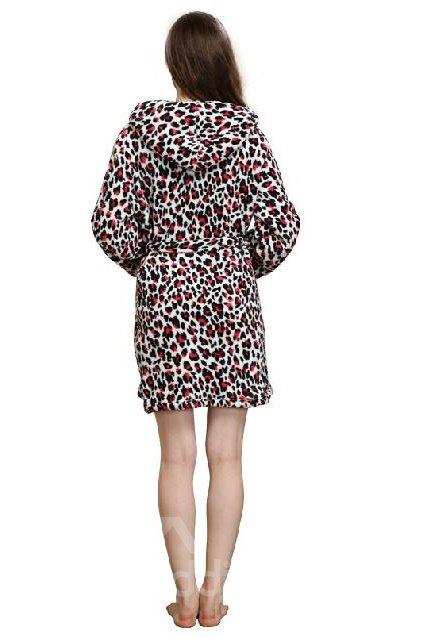 High Quality Fantastic Cozy Leopard Pattern Bathrobe