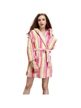 High Quality Cozy Iridescence V-neckline Pattern Bathrobe