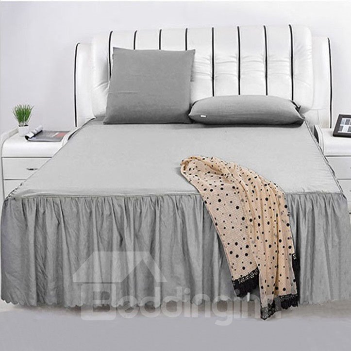 New Style Pure Gray Lace Border Pattern Bed Skirt