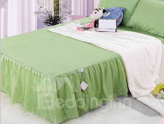 Fresh and Cool Pure Apple Green Lace Border Bed Skirt