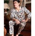 New Arrival Elegant Silky Jacquard Male Pajama