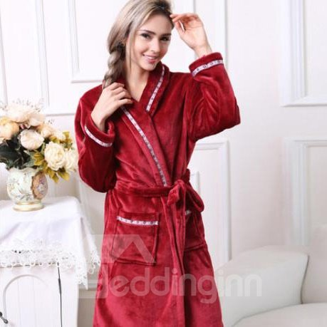 Cozy Fashion Concise Unisex Wine Red Bathrobe