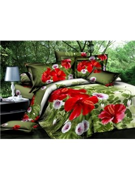 Wonderful Red and Pink Flower Print 4-Piece Cotton Duvet Cover Sets