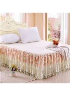 Pastoral Style Little Flowers and Lace Border Pattern Bed Skirt
