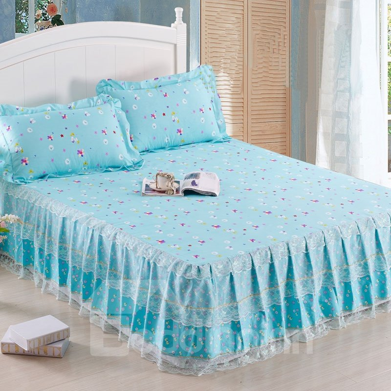 Pastoral Style Beautiful Flying and White Lace Border Bed Skirt