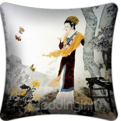 High Quality Ancient Lady Staring Chrysanthemum Pattern Throw Pillow
