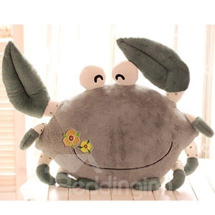 Cute Flying Crab and Embroidery Pattern Throw Pillow