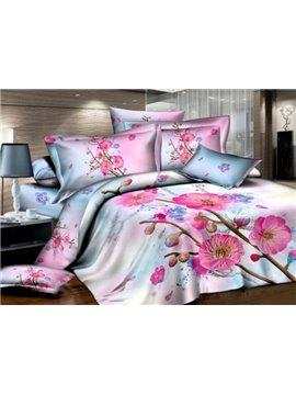 Pink Plum Blossom Print 4-Piece Cotton Duvet Cover Sets