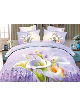 Calla Lily and Lavender Print 4-Piece Cotton Duvet Cover Sets