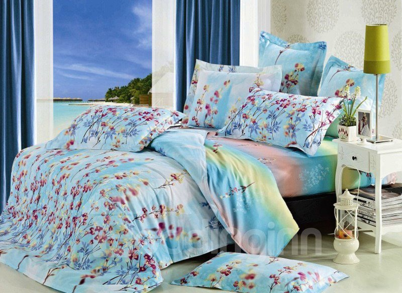 Elegant Beautiful Floral Pattern 4-Piece Cotton Duvet Cover Sets
