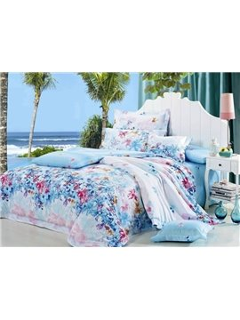Sky Blue Floral Pattern 4-Piece Cotton Duvet Cover Sets