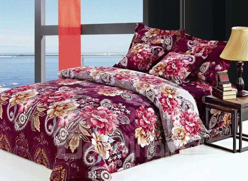 Luxury Burgundy Floral Pattern 4-Piece Cotton Duvet Cover Sets