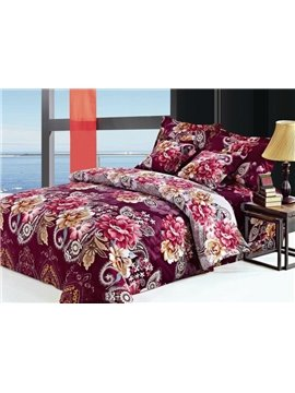 Luxury Burgundy Floral Pattern 4-Piece Cotton Duvet Cover Sets